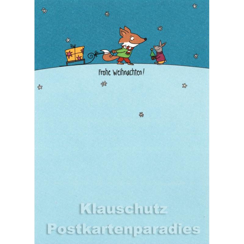 Hase und Fuchs | Postkarte Weihnachten