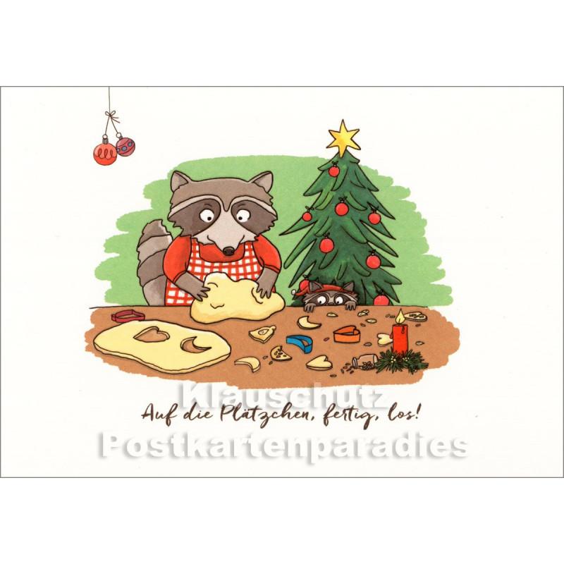 Auf die Plätzchen, fertig, los! - Postkarte Weihnachten