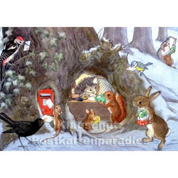 Weihnachts-Postschalter mit Tieren | Kinder Weihnachtskarte