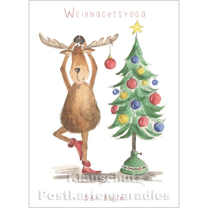 Weihnachtskarte | Weihnachtsyoga mit Elch - Baum