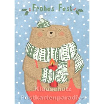 Weihnachtskarte - Frohes Fest - Bär mit Kerze