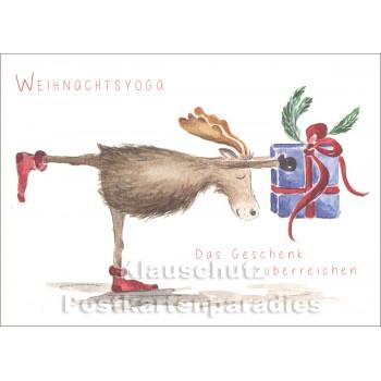 Weihnachtskarte | Weihnachtsyoga - Das Geschenk überreichen