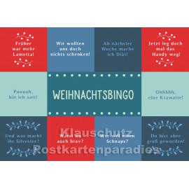 Weihnachtsbingo | Lustige Postkarte zu Weihnachten vom Postkartenparadies