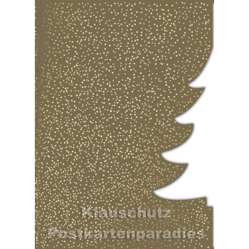 Goldfarbene Doppelkarte Weihnachtsbaum - ausgestanzt