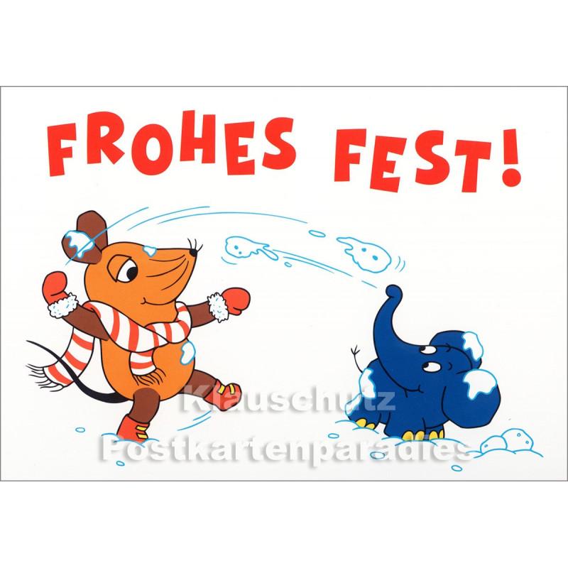 Maus und Elefant - Schneeballschlacht | Postkarte Weihnachten