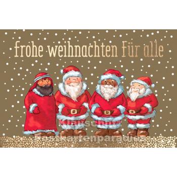 Frohe Weihnachten für Alle - Doppelkarte goldfarben