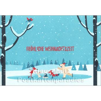 Fröhliche Weihnachtszeit | Weihnachtskarte mit Tieren