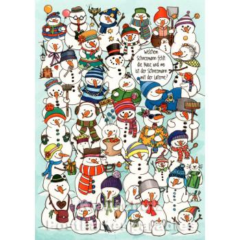 Schneemänner | Wimmelbild Weihnachtskarte