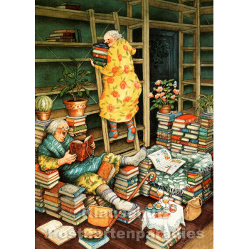 Inge Löök Postkarte - Alte Frauen mit Büchern