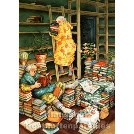 Postkarte - Alte Frauen mit Büchern