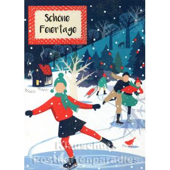 Doppelkarte Weihnachten - Schlittschuhe laufen in Winterlandschaft