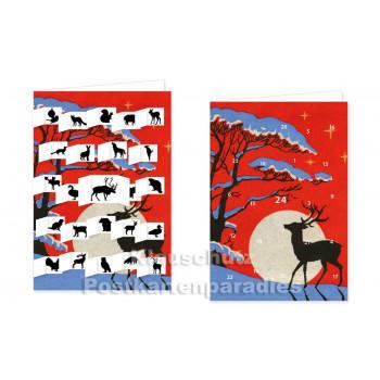 Adventskalender Doppelkarte - Hirsch, Hase oder Meise? Mit offenen Fensterchen