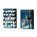 Adventskalender Doppelkarte - Winterwald - mit offenen Fensterchen