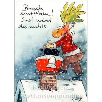 Bauch einziehen | Peter Gaymann Weihnachtskarte von Discordia