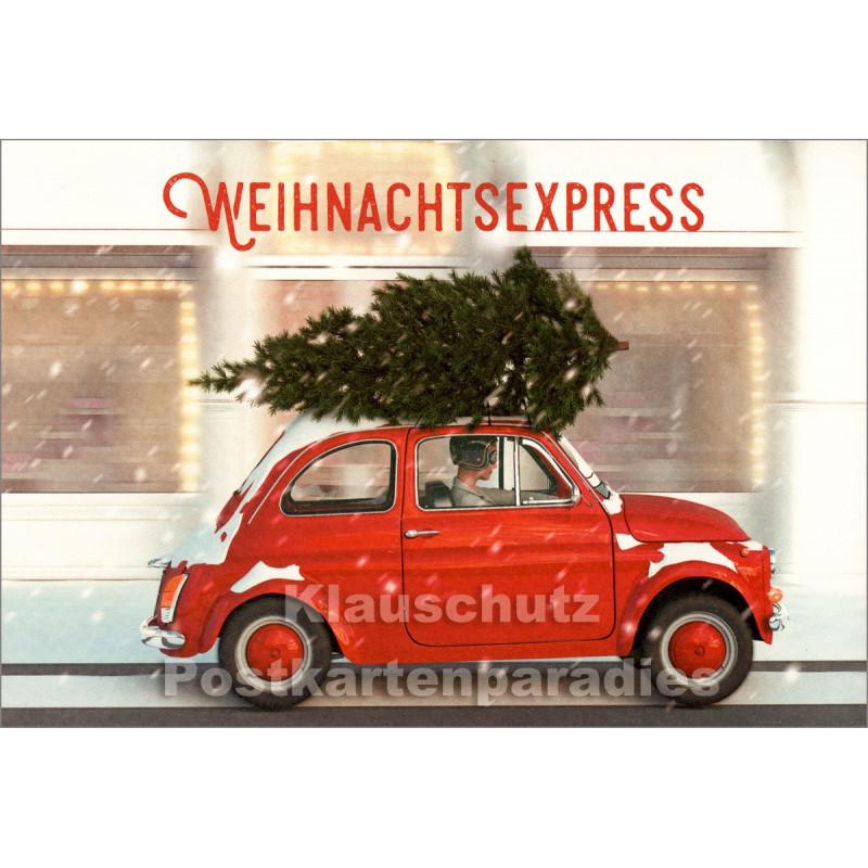 Weihnachtsexpress - Klappkarte mit rotem Auto von SkoKo