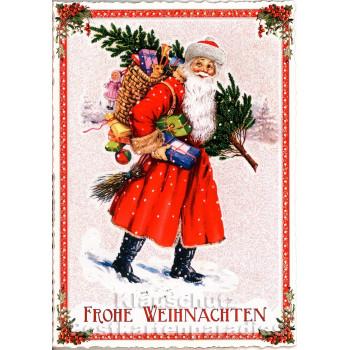 Nostalgie Weihnachtskarte von ActeTre - Weihnachtsmann mit Geschenken