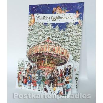 Aufstellkarte von ActeTre mit WEihnachtskarussell - Fröhliche Weihnachten