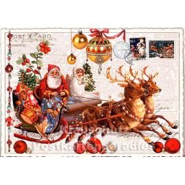 Nostalgie Weihnachtskarte von ActeTre - Weihnachtsschlitten mit dem Weihnachtsmann