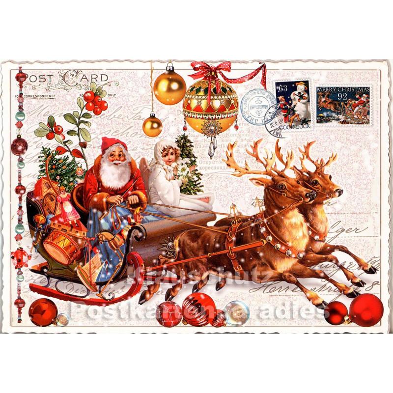 weihnachtsschlitten nostalgie weihnachtskarte mit glitter. Black Bedroom Furniture Sets. Home Design Ideas