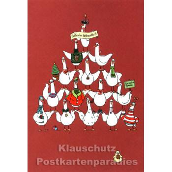 SkoKo Weihnachten Doppelkarte - Gänse Pyramide