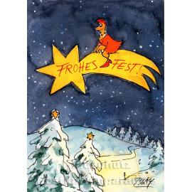 Frohes Fest - Huhn | Peter Gaymann Weihnachtskarte von Discordia