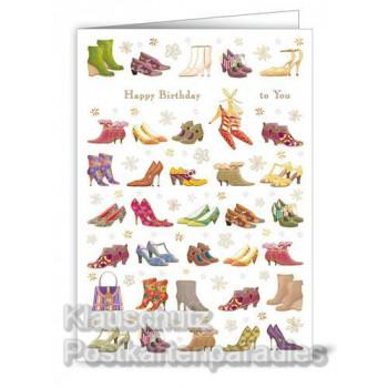 Geprägte Doppelkarte zum Geburtstag mit Schuhen