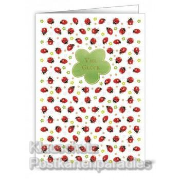 Glückwunschkarte Viel Glück mit Marienkäfern und Kleeblatt