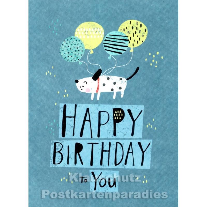 Happy Birthday Hund | SkoKo Little Greetings Midi-Doppelkarte