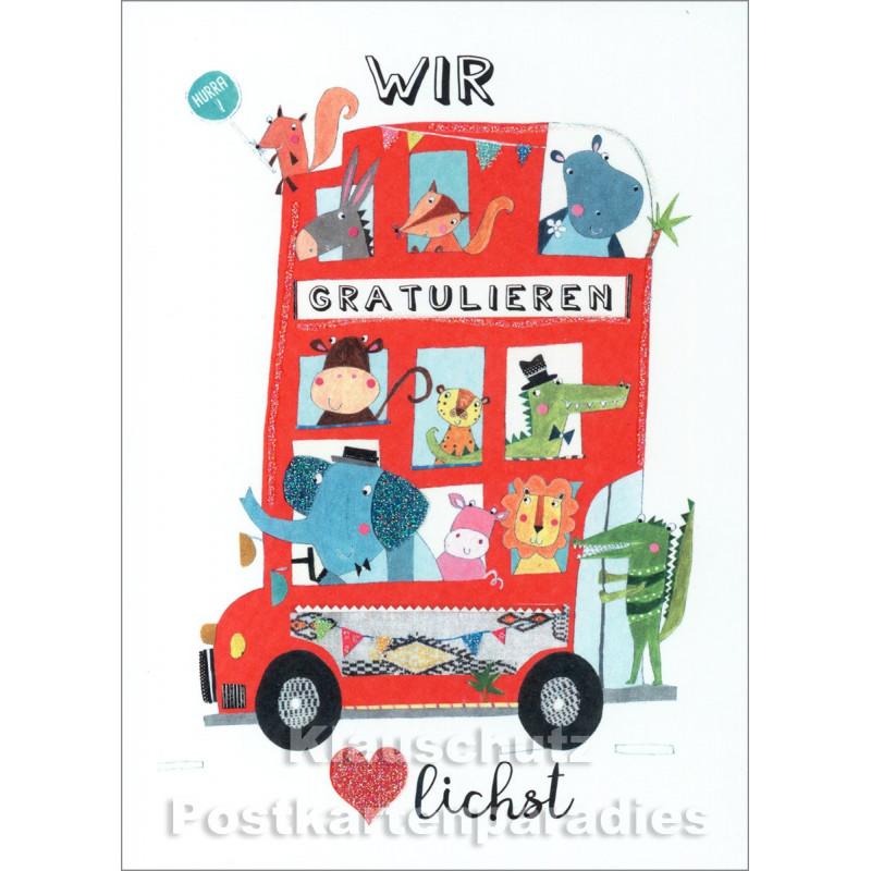 Bus mit Tieren | SkoKo Little Greetings Midi-Doppelkarte