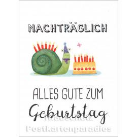 Nachträglich alles Gute zum Geburtstag | SkoKo Little Greetings Midi-Doppelkarte