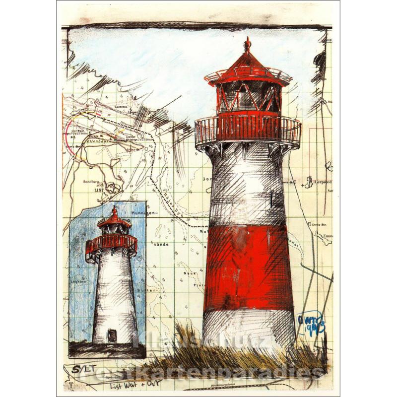 Ole West Leuchtturm Postkarte Sylt