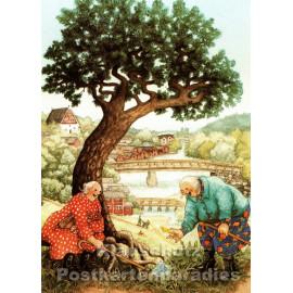 Taurus Postkarte Inge Löök - Alte Frauen finden Frühlingsblumen