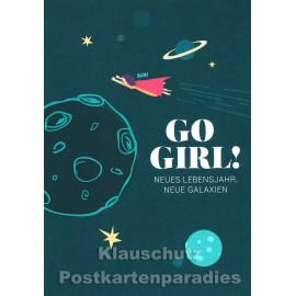 Go Girl! Neues Lebensjahr, neue Galaxien - Doppelkarte zum Geburtstag von Discordia / Chatlab