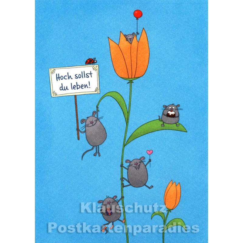 SkoKo Geburtstagskarte mit Mäusen - Hoch sollst du leben!