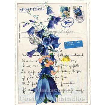 Retro Glitterkarte / Postkarte von ActeTre - Blaue Blumen