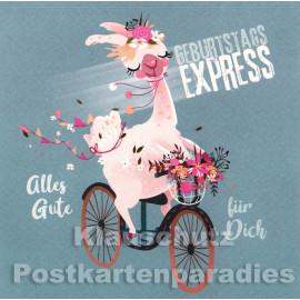 Geburtstagsexpress - quadratische Postkarte zum Geburtstag von Skoko