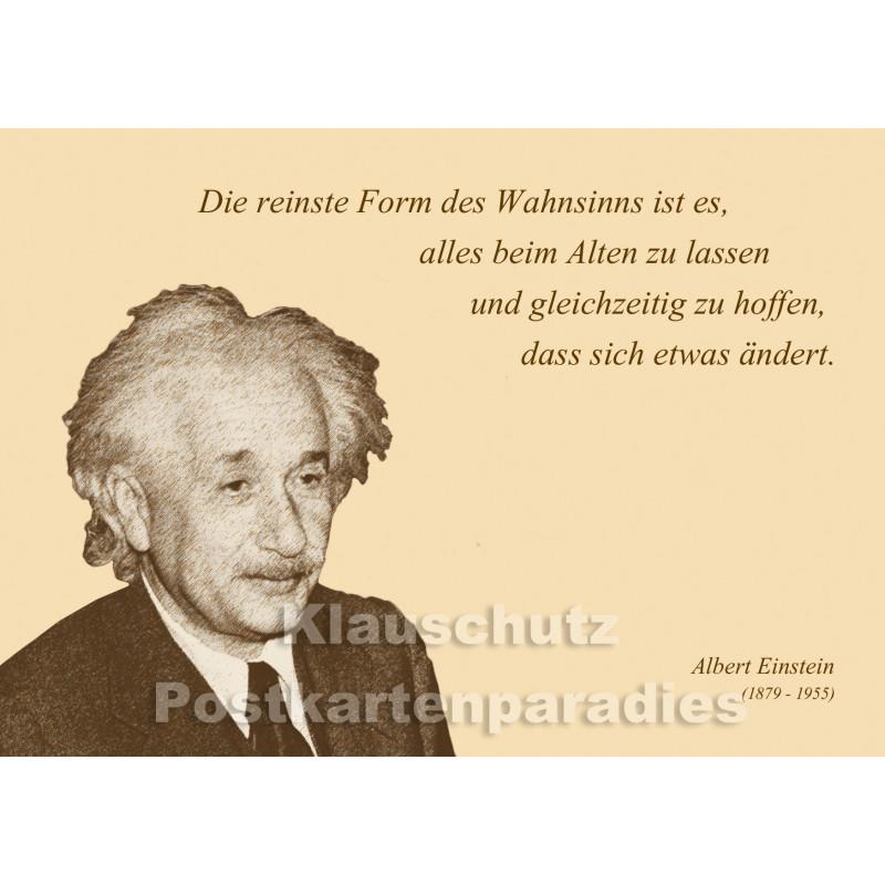 Albert Einstein Zitat Postkarte vom Postkartenparadies - Die reinste Form des Wahnsinns