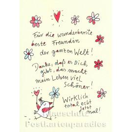 Karindrawings Discordia Postkarten | Für die wunderbarste beste Freundin