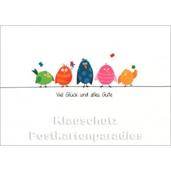 SkoKo Geburtstagskarte mit Vögeln - Viel Glück und alles Gute