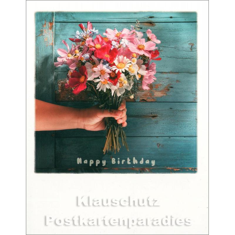 Taurus Polacard Postkarte zum Geburtstag  mit Blumenstrauß - Happy Birthday