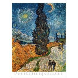 Kunstpostkarte von Taurus | Vicent van Gogh Landstraße mit Zypresse