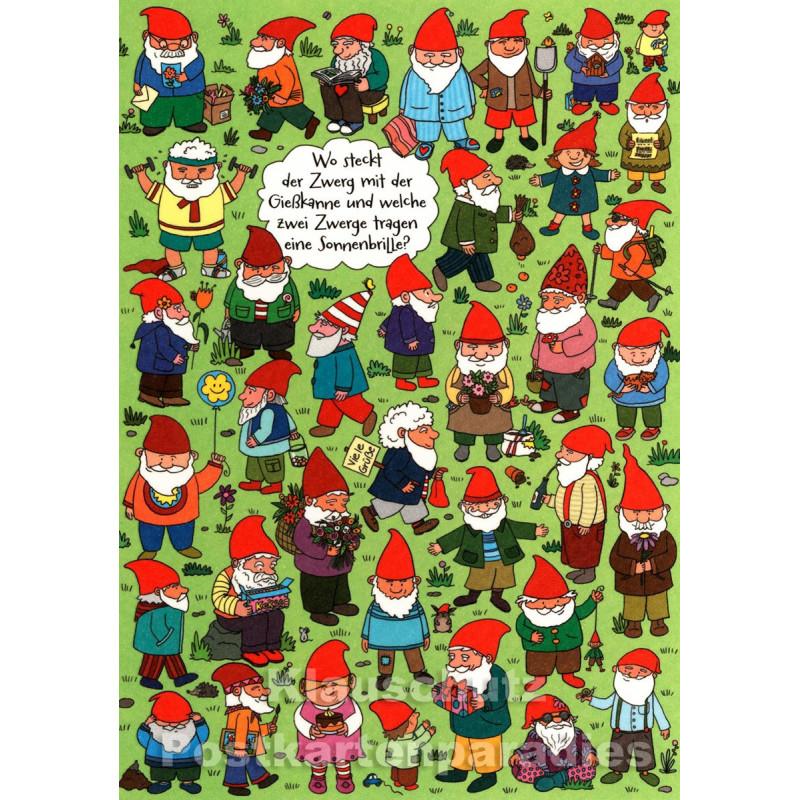 SkoKo Wimmelbild Postkarte - Wo steckt der Zwerg mit der Gießkanne?