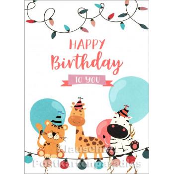 SkoKo Geburtstagskarte mit Tieren - Happy Birthday