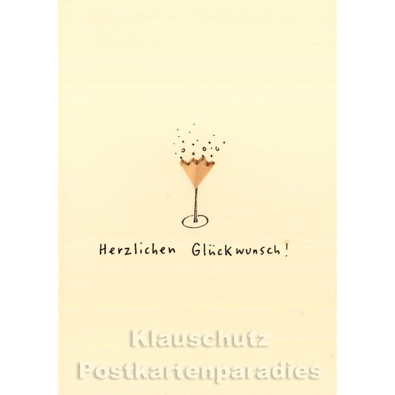 Discordia Buntstift Spitzer Doppelkarte Geburtstag mit Sektglas - Herzlichen Glückwunsch