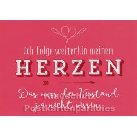 Ich folge weiterhin meinem Herzen - Rannenberg Sprüche Postkarte