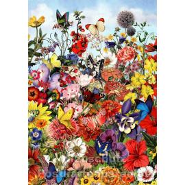 ActeTre Doppelkarte mit Blumen und Schmetterlingen