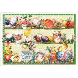 ActeTre Retro Glitterkarte - Fröhliche Ostern Ostereier