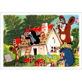 Taurus Postkarte | Der kleine Maulwurf baut ein Haus