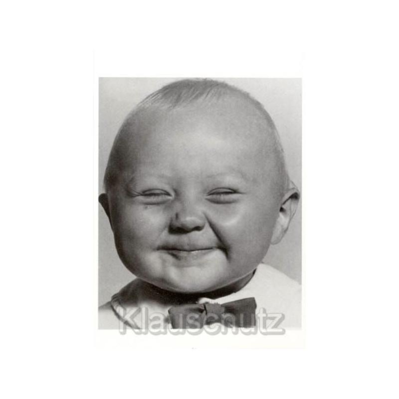 Lächerlich - Lustige Foto Postkarte in s/w mit lächelndem Baby