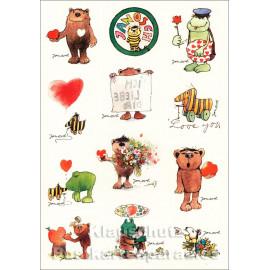 Janosch Stickerkarte - Liebe - mit Bär, Frosch und Tigerente